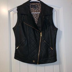Gold Studded Leather Vest